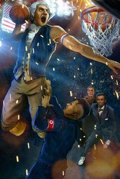 George Washington Dunking on Kim Jong-Un While Lincoln Blocks Stalin