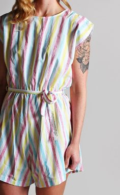 Vintage Striped Summer Romper - Cotton Stripes Pastel White Pink Yellow  Jumpsuit Woven Vacation Reso Yellow 74ab72289271
