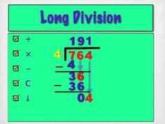 Mitchell's How To for long division. Long Division, Classroom Activities, Teaching Ideas, Education, Math, School, Youtube, Kids, Young Children
