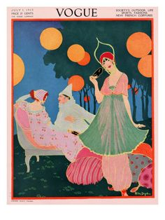 Vogue Cover - July, 1913    Three costumed characters rest outside a costume ball in Helen Dryden's evocative illustration, which appeared on the July 1, 1913, cover of Vogue. The bright background of blues and oranges lend this scene a palpable sense of atmosphere.