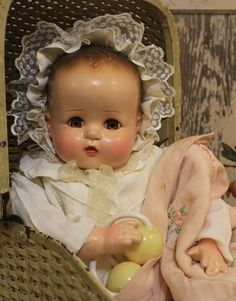 "Adorable Ideal 22"" Old Antique Vintage Composition and Cloth Baby Doll 