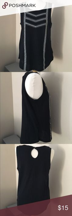 Embroidered Tank Black with white embroidery. Soft cotton and button closure at back of neck. Excellent condition. Old Navy Tops Tank Tops