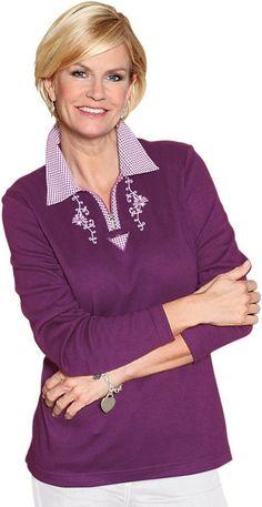 Poloshirt mit Landhaus-Elemente ab 24,99€. Poloshirt mit kariertem Kragen, Baumwolle, Figurumschmeichelnde Form, Kurzer Reißverschluss mit Paspel bei OTTO