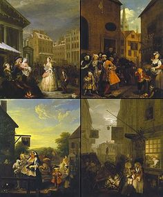 William Hogarth - The paintings of Four Times of the Day (clockwise from top left: Morning, Noon, Night, and Evening). William Hogarth, Covent Garden, Romanticism Artists, London Drawing, Thomas Gainsborough, Walter Crane, Research Images, English Artists, Paris City