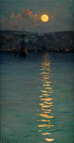Fausto Zonaro ( 1854 – Was an italian painter, best known for his Realist style paintings of life and history of the Ottoman Empire. Aesthetic Painting, Aesthetic Art, Aesthetic Drawing, Aesthetic Outfit, Aesthetic Clothes, Aesthetic Rooms, Nocturne, Moon Art, Fine Art
