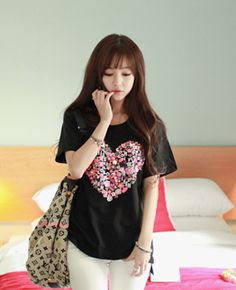 Heart Print Cotton TEE from cherryspoonen.cafe24.com // $20.28