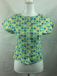 VINTAGE 60s Koret California Rockabilly Atomic Cropped PinUp Blouse Shirt Sm 34B #KoretCalifornia