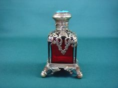 Victorian Cranberry Glass Enamel, Amber and Brass Perfume Bottle