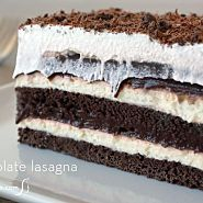 Easy chocolate dessert lasagna recipe with pudding and cream cheese