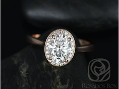 Rosados Box Swink 8x6mm 14kt Rose Gold Oval FB Moissanite and Diamond Pave Halo Engagement Ring
