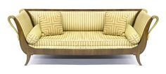 Late century French Empire style partial gilt neo-classical style sofa, having gilt swan terminals, x on Jan 2007 Wooden Furniture, Furniture Design, French Empire, Vintage Sofa, Empire Style, Upholstered Chairs, Love Seat, Couch, Regency