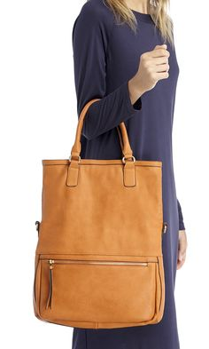 Camel tote with a removable crossbody strap that transforms it into a messenger bag!
