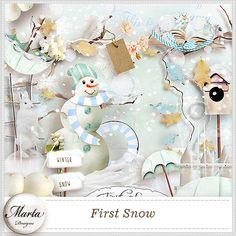 First Snow :: ALL NEW :: Memory Scraps Wonderful Wednesday, Wonderful Time, First Snow, Let It Snow, Winter Wonderland, Happy Holidays, Memories, Paper Packs, Christmas