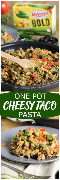 One Pot Cheesy Taco Pasta!  This delicious cheesy weeknight dinner uses only one pot and is on the table in under 30 minutes!  #LiquidGold #PartnerAd #easydinner