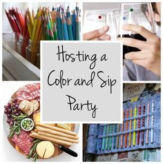 Paint and sip parties are super fun, but they can be kind of pricey and a bit intimidating for your non-crafty friends. That's why a color and sip party is such a great alternative. Invite friends ove