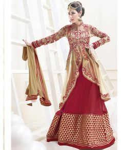 Maroon and golden lehenga style akarkali suit   1. Maroon and golden net lehenga style anarkali suit 2. Comes with matching bottom and dupatta3. Can be stitched upto bust size 42 inches