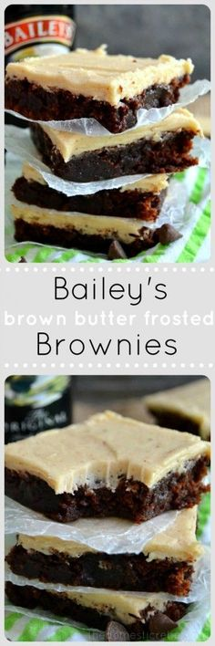 Bailey's Brown Butter Frosted Brownies are rich and fudgy brownies topped with a thick, creamy and sinfully delicious Bailey's & brown butter frosting. The perfect sweet treat!