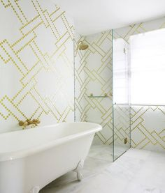 Palm Beach Style Home Tour from Greg Natale (Australian architect & designer) - yellow & white patterned tile in bathroom All White Bathroom, Gold Bathroom, White Bathrooms, Parisian Bathroom, Bathroom Interior, Stone Bathroom, Design Bathroom, Dream Bathrooms, Bath Design