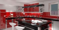 The red kitchen is a minimalist kitchen that has been widely applied to current model homes. This model kitchen gives a touch of red as the,,, Red Kitchen Tiles, Red Kitchen Cabinets, Red Kitchen Decor, Kitchen Paint Colors, Paint For Kitchen Walls, Kitchen Cabinets Pictures, Red Kitchen Accessories, Kitchen Models, Cuisines Design
