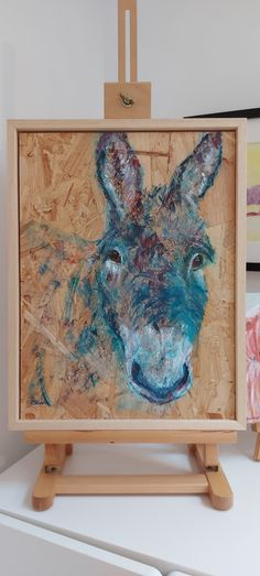 Gorgeous teal blue donkey artwork painted onto textured chipboard surface with optional bare wood frame. A great addition to your modern farmhouse decor. See website for more information and to see colourful animal paintings and homeware gifts by Caroline Skinner Art. Colorful Animal Paintings, Colorful Animals, Farm Animals, Animals And Pets, The Donkey, Artwork Online, Modern Farmhouse Decor, Chipboard, Teal Blue