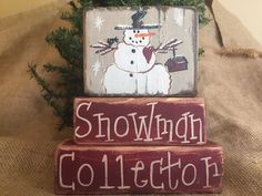 Primitive Country Snowman Collector 3 pc Christmas Shelf Sitter Wood Block Set #PrimitiveCountry