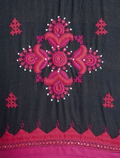 Black-Pink Embroidered Cotton Blouse by Svasa