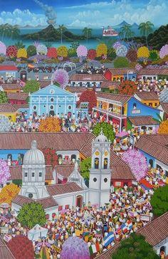 Título:Fiesta Religiosa con Invitados Multiculturales. Artista:Carlos Marenco Alfaro. Técnica:Oleo sobre Lienzo. Año:2012. Lugar:Masaya.