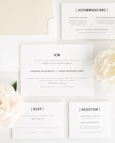 Wedding Invitation Suite with Champagne Envelope Liner