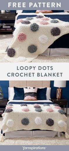 This easy crochet blanket pattern features a soft base made with Bernat Blanket . This easy crochet blanket pattern features a soft base made with Bernat Blanket yarn topped with textured Bernat Velvet . Crochet Afghans, Crochet Loop, Crochet Pillow, Baby Blanket Crochet, Crochet Baby, Free Crochet, Crochet Stitches, Double Crochet, Blanket Yarn