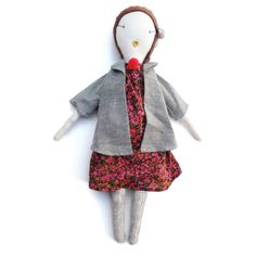 jess brown, handmade rag doll (swing coat) $180 #doll #kids #jessbrown