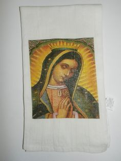 Blessed Holy Mother Tea Towel Lady by DesignsofFaithandJoy on Etsy
