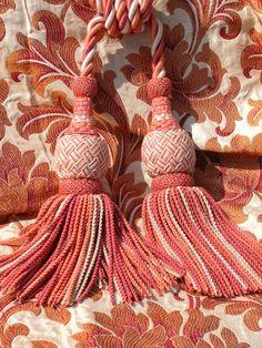 Versailles tiebacks and Selina silk in Copper Pinot