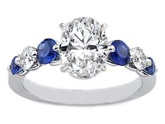 Engagement Ring -Oval Diamond Engagement Ring Sapphires & Diamonds sides 0.4 tcw. in 14K White Gold-ES785WGOV