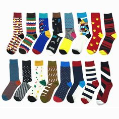 Delicious 1 Pair Male Cotton Socks Colorful Striped Jacquard Art Socks Multi Pattern Long Happy Funny Skateboard Socks Mens Dress Sock Street Price Men's Socks