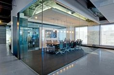 quora's office - example of larger conf room, with glass walls + sound dampening dropped ceiling