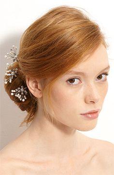 'Mercia' Swarovski Crystal  Freshwater Pearl Hairpins, $175, Nina