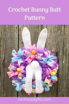 Make this super cute Easter wreath using my bunny butt crochet pattern! It's easy for beginners! The pattern comes with instructions to put together the wreath too. Easter Bunny Crochet Pattern, Crochet Patterns, Amigurumi Patterns, Alice In Wonderland Crafts, How To Make A Pom Pom, Utila, Easter Crafts, Dyi Crafts, Easter Ideas