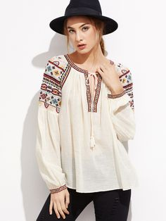 19$  Watch here - http://di7rg.justgood.pw/go.php?t=11582 - Apricot Tie Neck Embroidered Top 19$