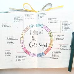 Bullet journal - birthdays & holidays spread