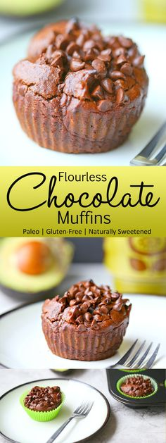 Flourless Chocolate Muffins: Finally! A paleo breakfast that isn't eggs! These flourless chocolate muffins are so fudgy and decadent , you would never know they were made without butter, oil, or sugar!