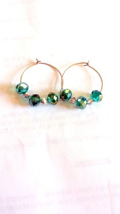 Silver Beaded Hoop Earrings with Czech Glass by TheCoralDahlia, $14.00