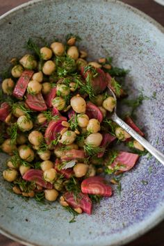 A fresh, spring-feeling salad featuring roast chioggia beets tossed with chickpeas, dill, and lemon. A lovely side for dinner or a great picnic salad. Chickpea Salad Recipes, Beet Recipes, Healthy Salad Recipes, Veggie Recipes, Whole Food Recipes, Vegetarian Recipes, Dinner Recipes, Veggie Dishes, Smoothie Recipes