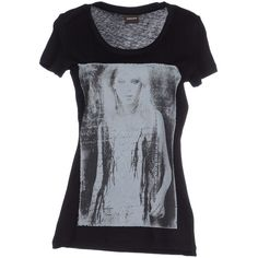 Pieces T-shirt ($55) ❤ liked on Polyvore featuring tops, t-shirts, black, pattern t shirts, black short sleeve t shirt, short sleeve tops, short sleeve t shirts and black t shirt