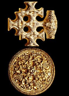 "What we have here is two pieces of viking jewelry found in Germany. The first being a cross motif. Undisputed is the connection with the ""Viking"" animal symbolism. The animal head in the center could be the head of an eagle or an owl. The second being a Fibelmotiv,The cross in the center can be evaluated as a Christian symbol. ca. 10-11th century."