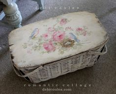 Shabby Vintage Large Bluebird and Roses Basket SOLD - Debi Coules Romantic Art
