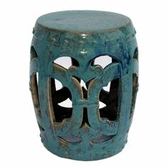 "Club Turquoise Garden Stool | $242 | 15""W x 15""D x 18""H, This beautiful garden stool can be used as a decorative accent as a side table or stool in any space 