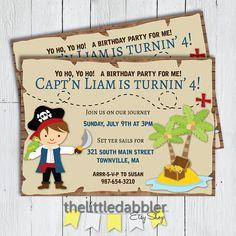 Printable Pirate Birthday Party Invitation  Pirate Treasure