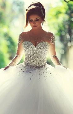 beautiful wedding dress sleeves and gems
