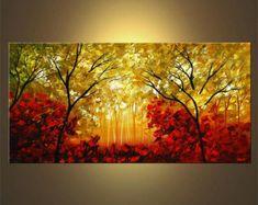 Paisaje árboles florecientes pintura verano indio por OsnatFineArt