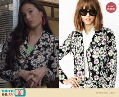 Donna's daisy print moto jacket on The Carrie Diaries. Outfit Details: http://wornontv.net/26249 #TheCarrieDiaries #fashion